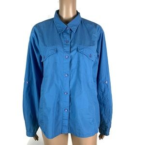Woolrich Vented Shirt Button Front Blue 3XDry